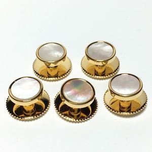 Other - 5 Gold and Mother of Pearl Tuxedo Shirt Studs